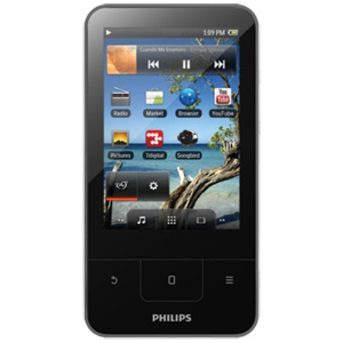 The Philips GoGEAR media player features an AM/FM tuner, a 3.2-inch display and a battery that supports up to 25 hours of audio playback and four hours of video playback.