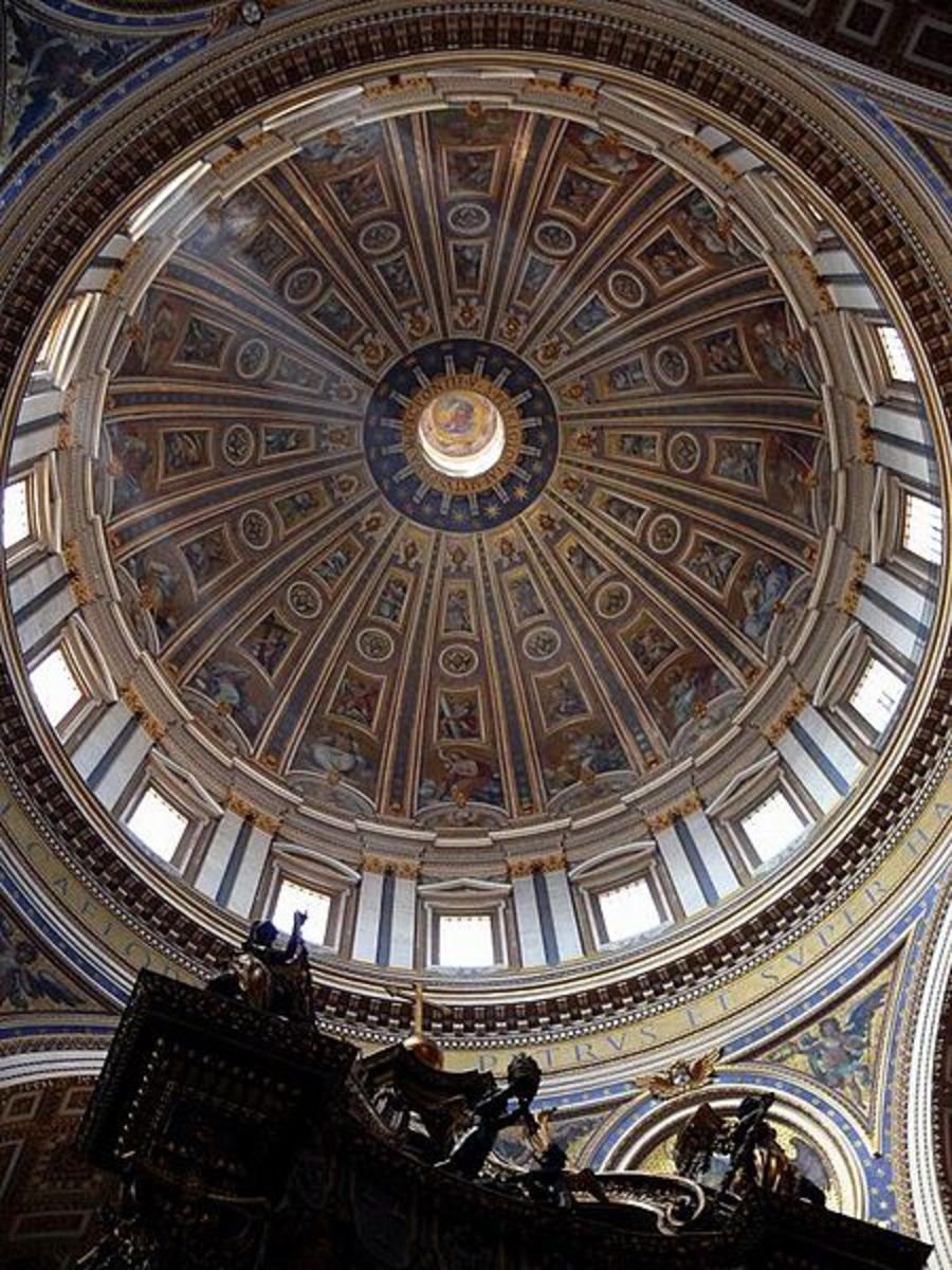 The Dome of St. Peter's Basilica designed by Michelangelo.
