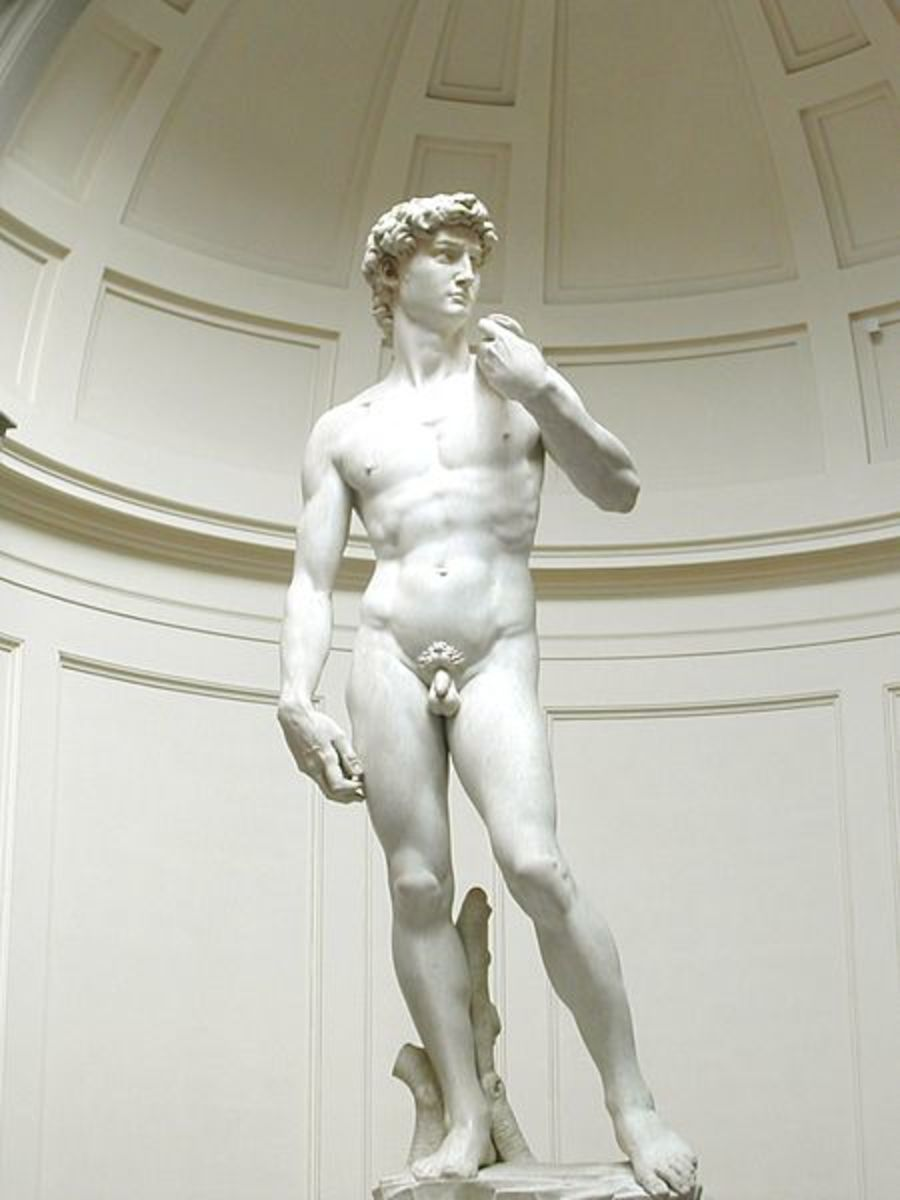 The statue of David by Michaelangelo in Florence, Italy.  1504