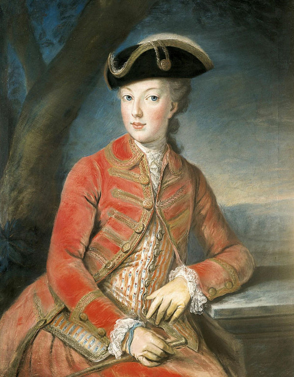 Archduchess Maria Antonia of Austria (later Queen Marie Antoinette of France), aged 16, in hunting outfit with tricorn hat. Portrait by Joseph Kreutzinger, 1771.