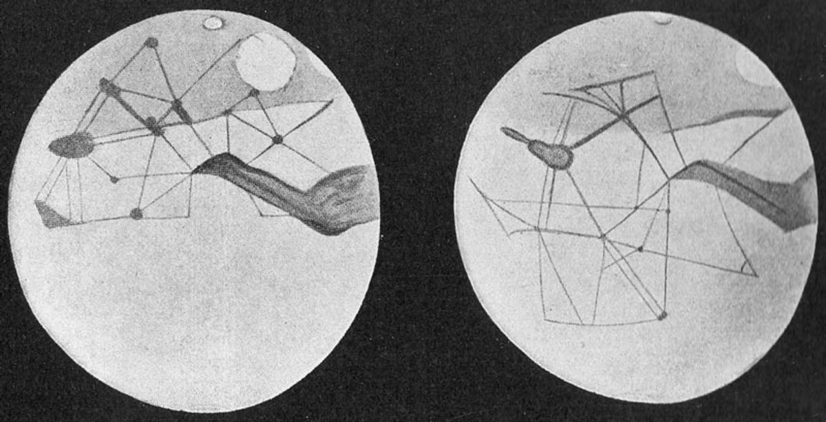 Martian canals drawn as seen through a telescope by Percival Lowell. in 1895 to 1914.