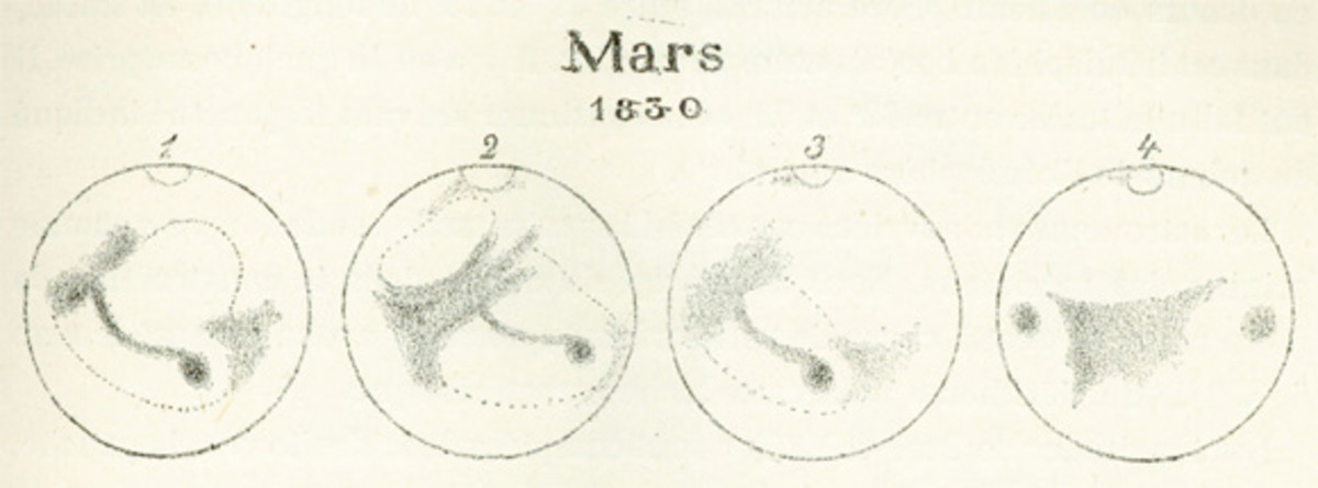 Hobbists, banker Wilhelm Beer (1797-1850) and teacher Johann Heinrich Maedler (1794-1874) began mapping mars through telescopes around 1830 and eventually came up with an entire spherical map of the planet.