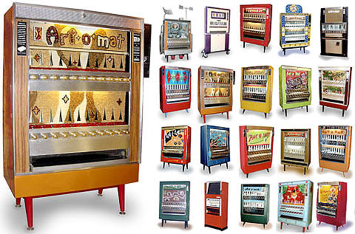 One of the Art-O-Mat machines, and samples of the art that can be purchased from the machine.