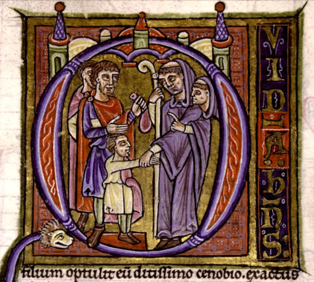 A 12th century illustration of an abbot practicing simony, a common practice in the Middle Ages.