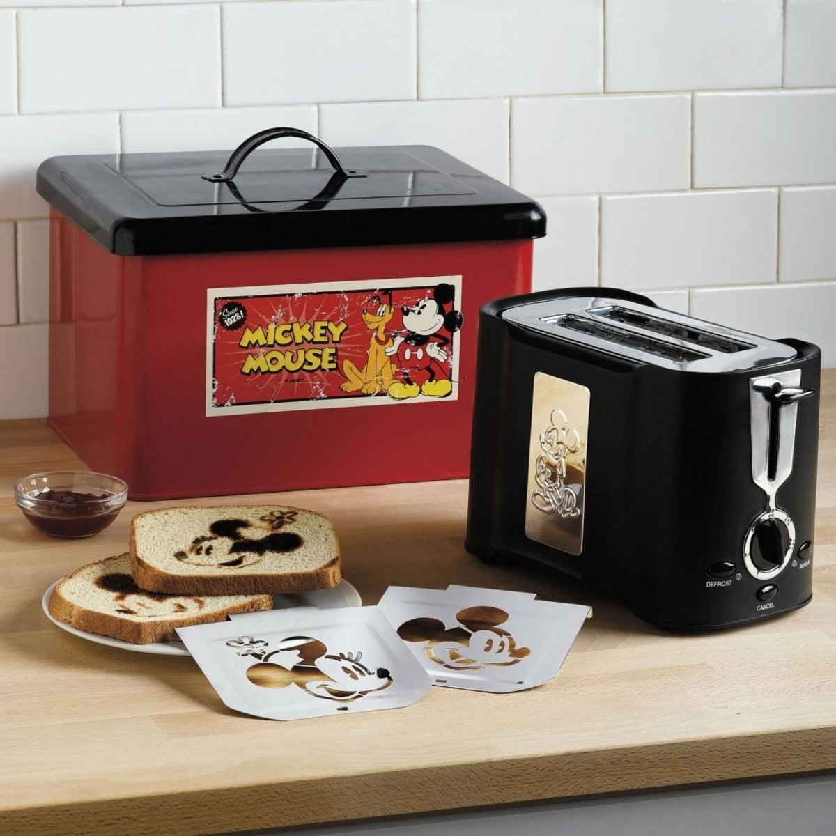 Mickey Mouse toaster and breadbox