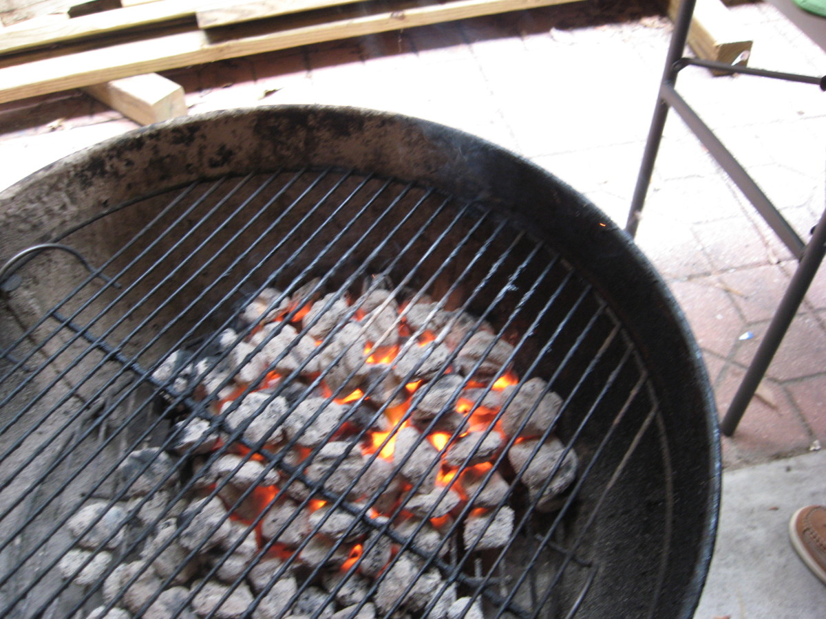 Build a fire on one side of the grill.