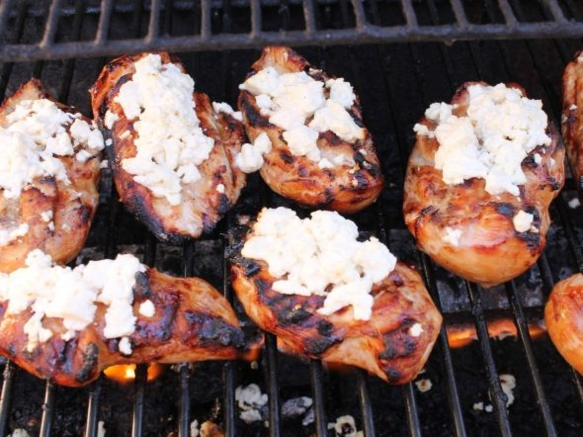 Grilled Chicken Breasts with Feta Cheese