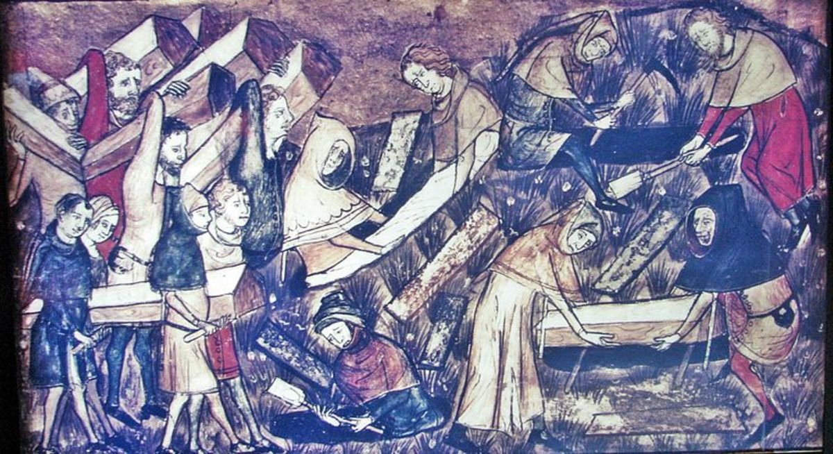 A contemporary manuscript shows victims being buried in Tourmai.  Presumably this is near the beginning of the outbreak; later there were not enough survivors to property bury the dead, they were simply thrown into plague pits.