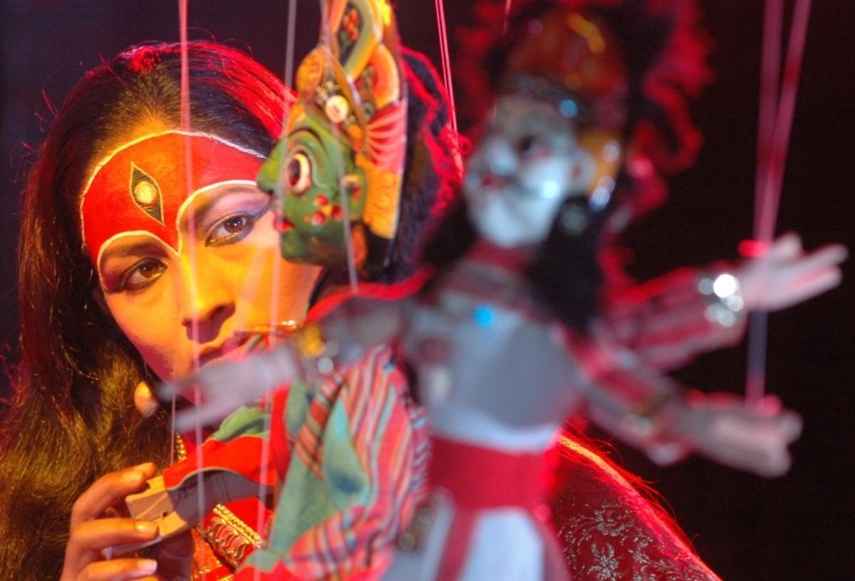 A Young woman dressed as Hindu Goddess Kumari