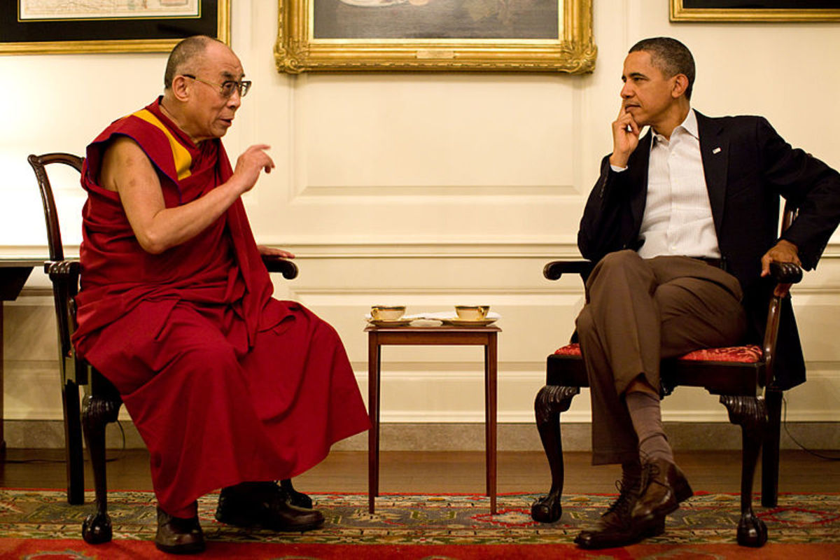 U.S. President Barack Obama with the 14th Dalai Lama on July 16, 2011.