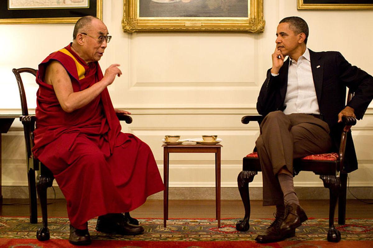 U.S. President Barack Obama with the 14th Dalai Lama on July 16, 2011.