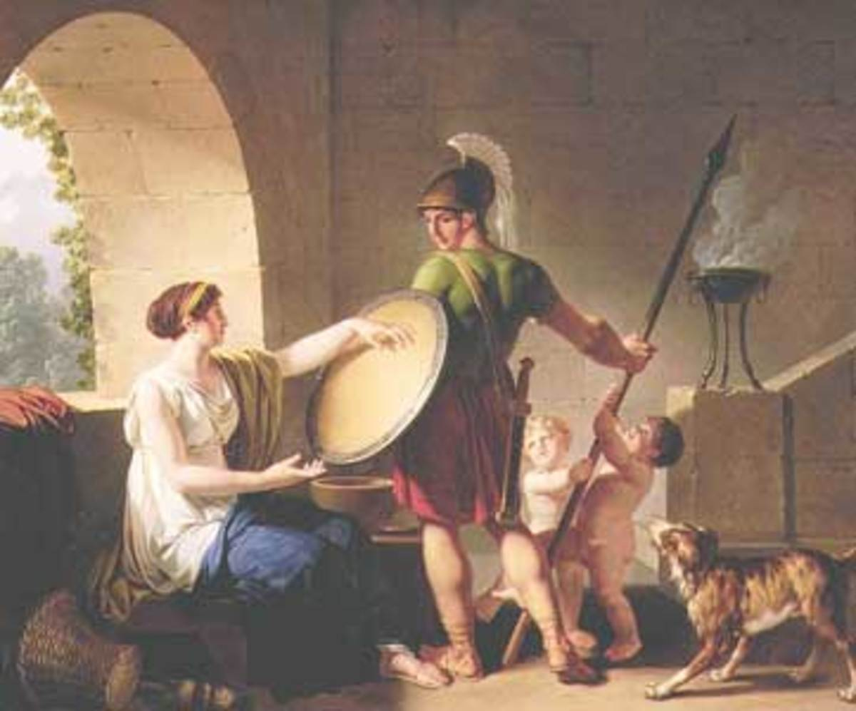 Spartan mother giving the shield to her son, Jean-Jacques-Francois Le Barbier ( 1738-1826), Portland museum