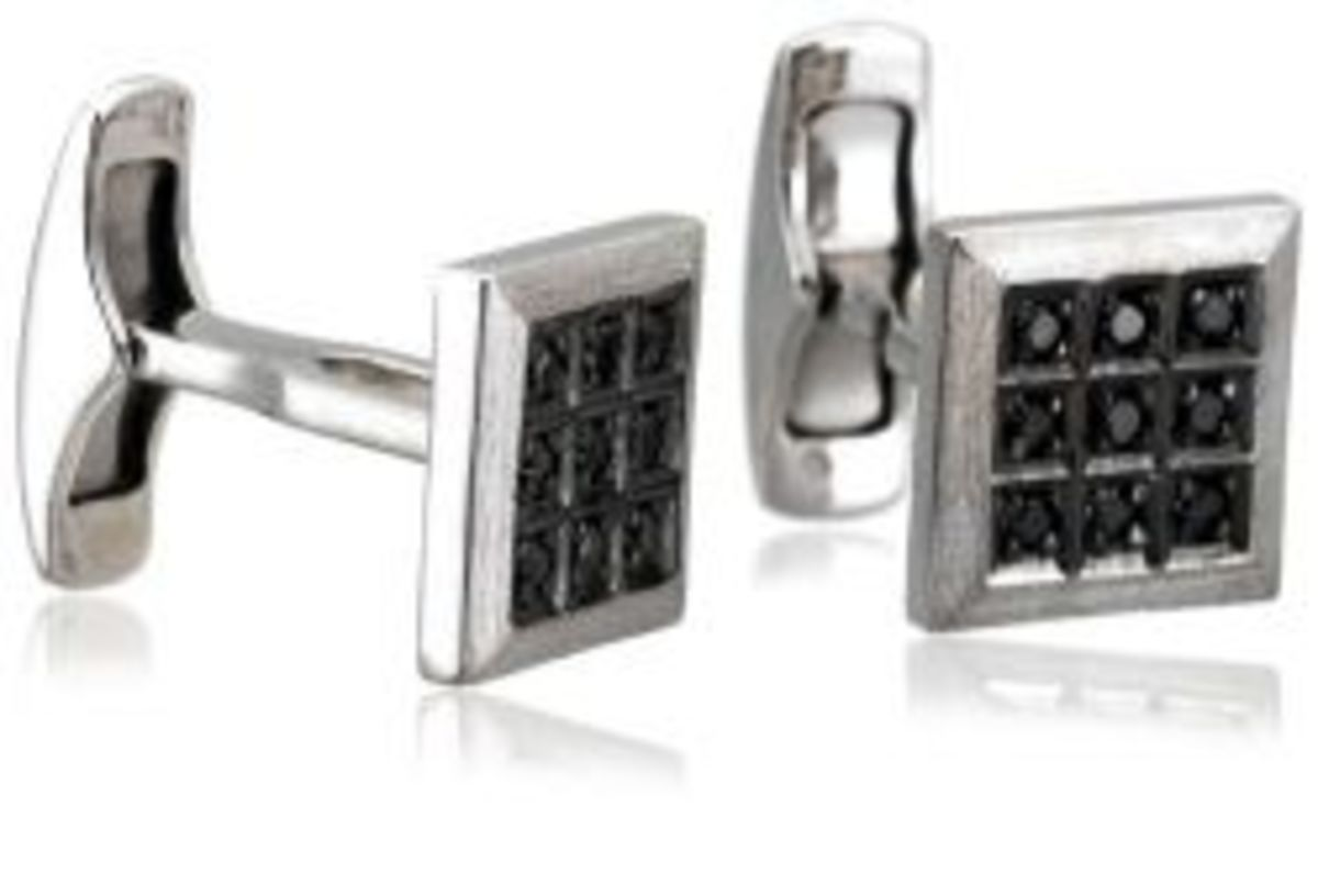 Sterling Silver Black Diamond Cuff Links