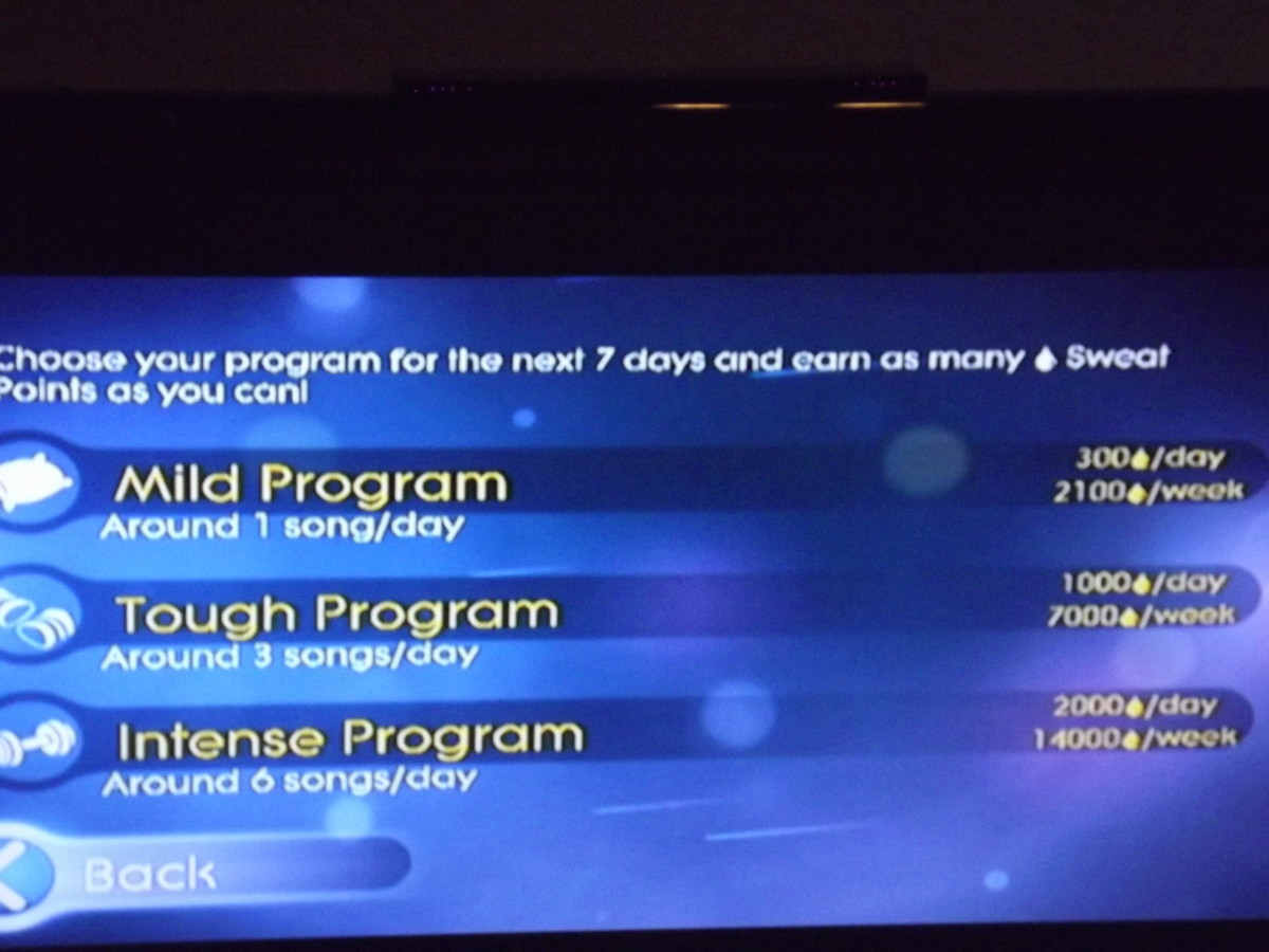 Program options available under sweat mode.