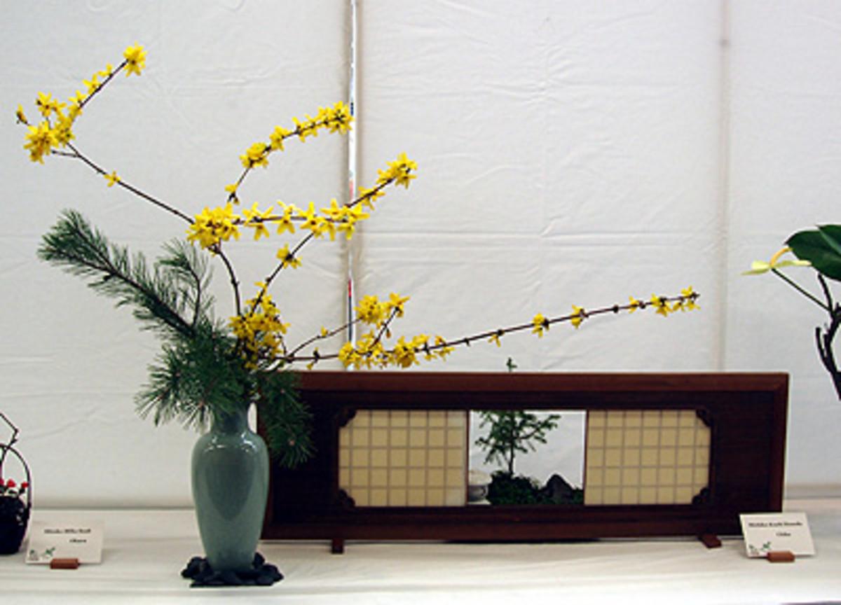 Ikebana for girls with yellow flowers