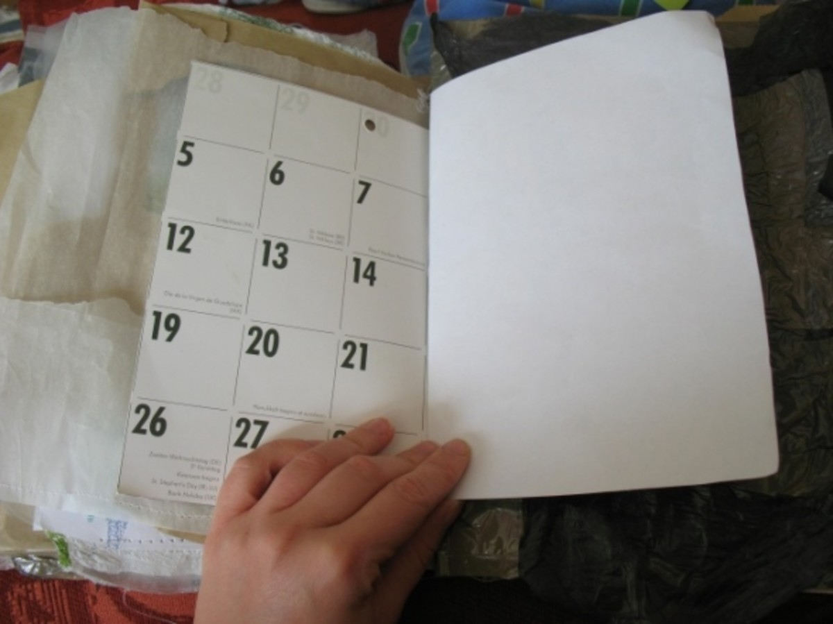 Old calendars are a good option for recycling and give you an interesting grid to work with.