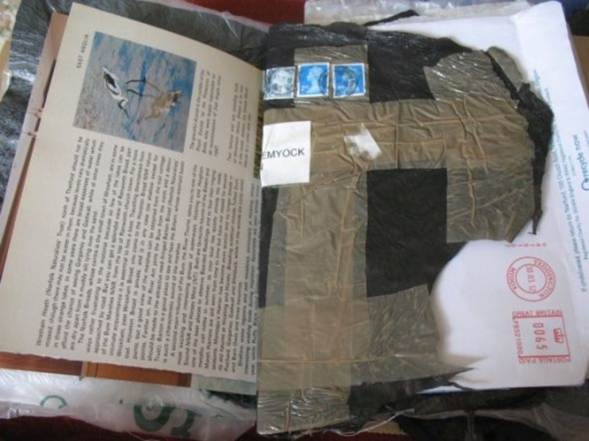 Use old book pages and packaging.