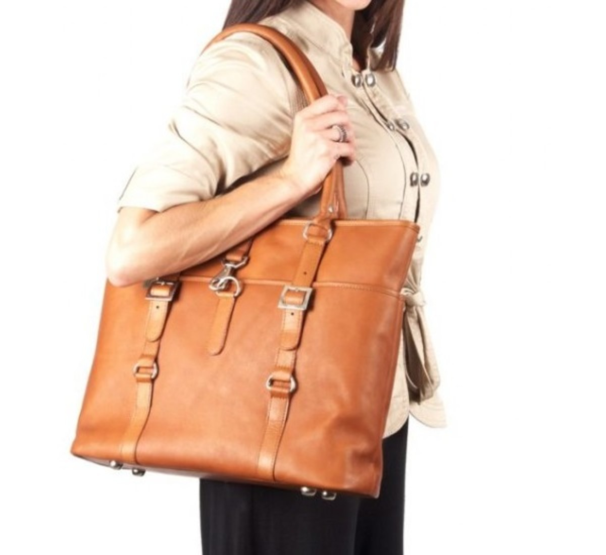 Claire Chase Ladie's Vaqueta Leather Laptop Tote Bag