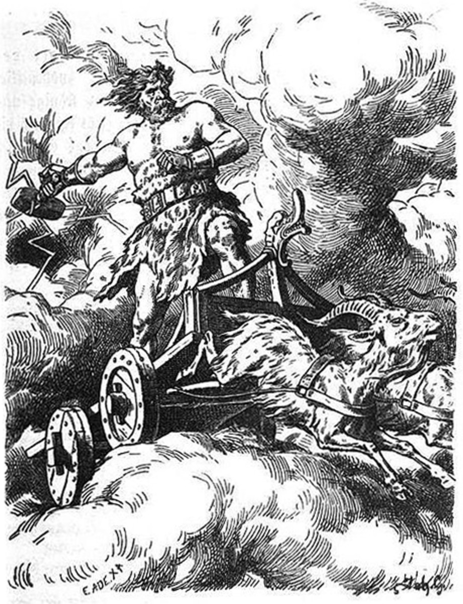 Thor on his chariot, hauled by a pair of goats... Keep out of his way when he is bound to destroy foes of the Aesir
