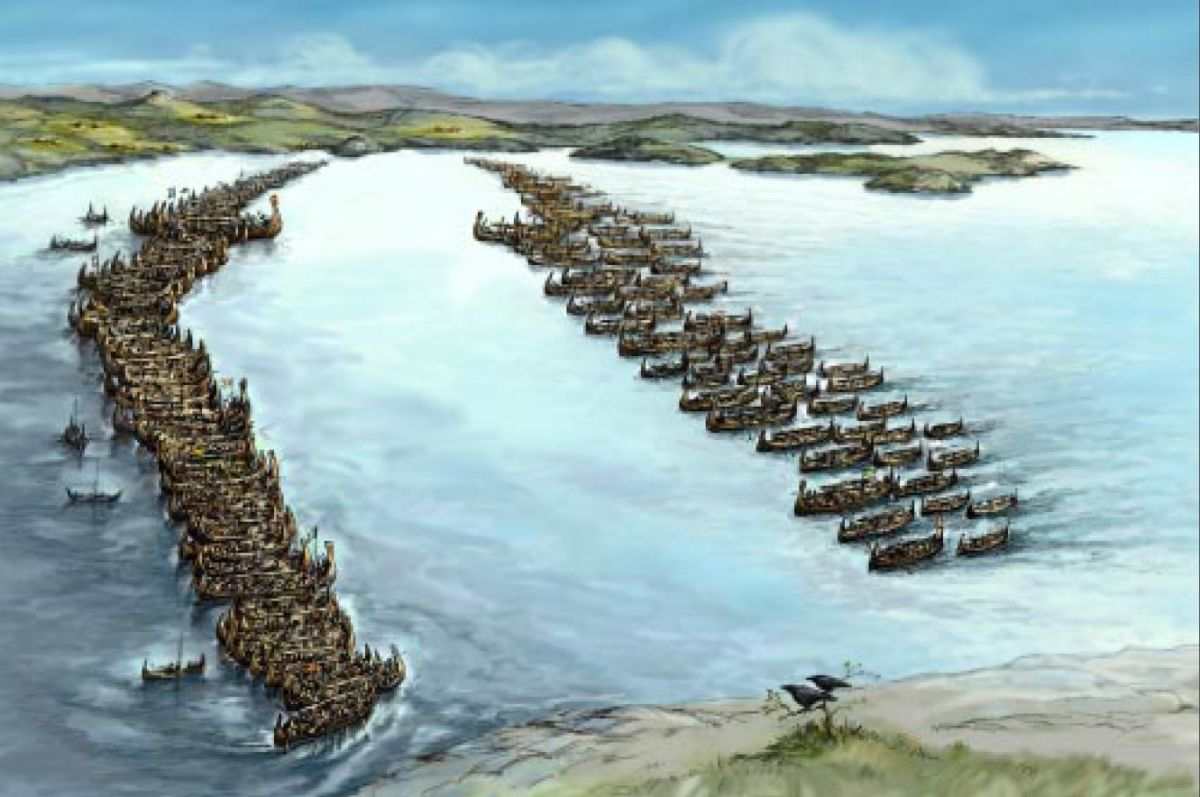 Two fleets confront one another in the Hafrsfjord, AD 872. Winning gained Harald 'Fairhair' overall rule over an alliance of local chieftains  in what would one day become Norway