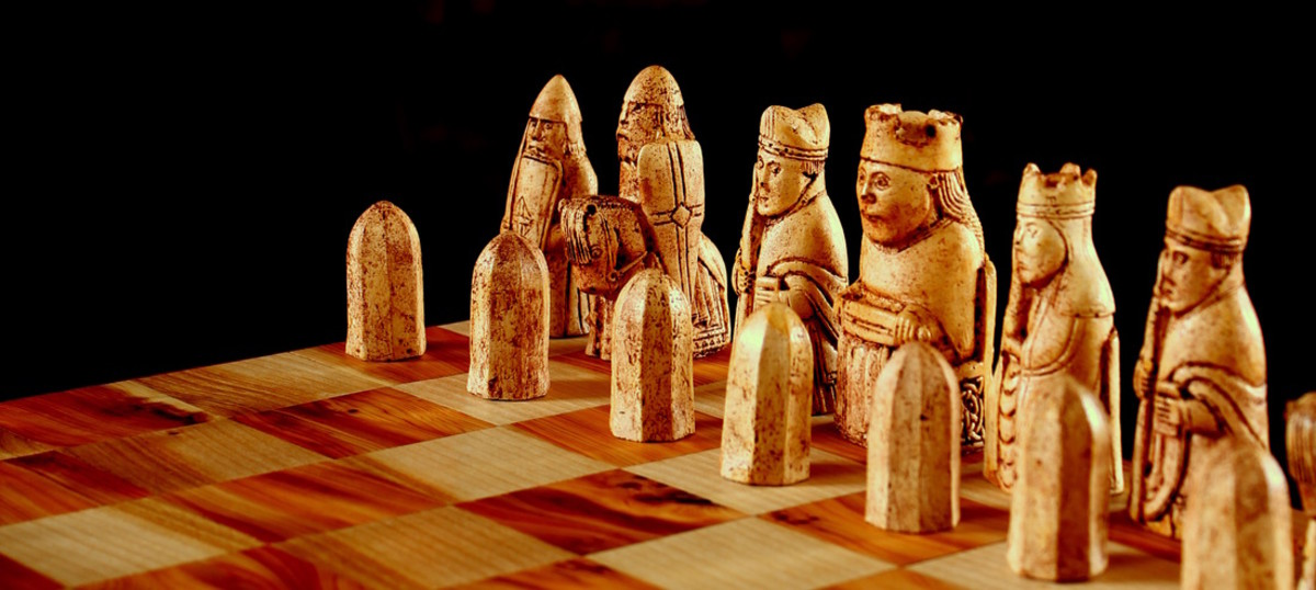 The Lewis chess set - one of the pawns is portrayed as a 'berserker', chewing the top of his shield in a frenzy. The Norsemen would have learned about chess from their travels to the near east.