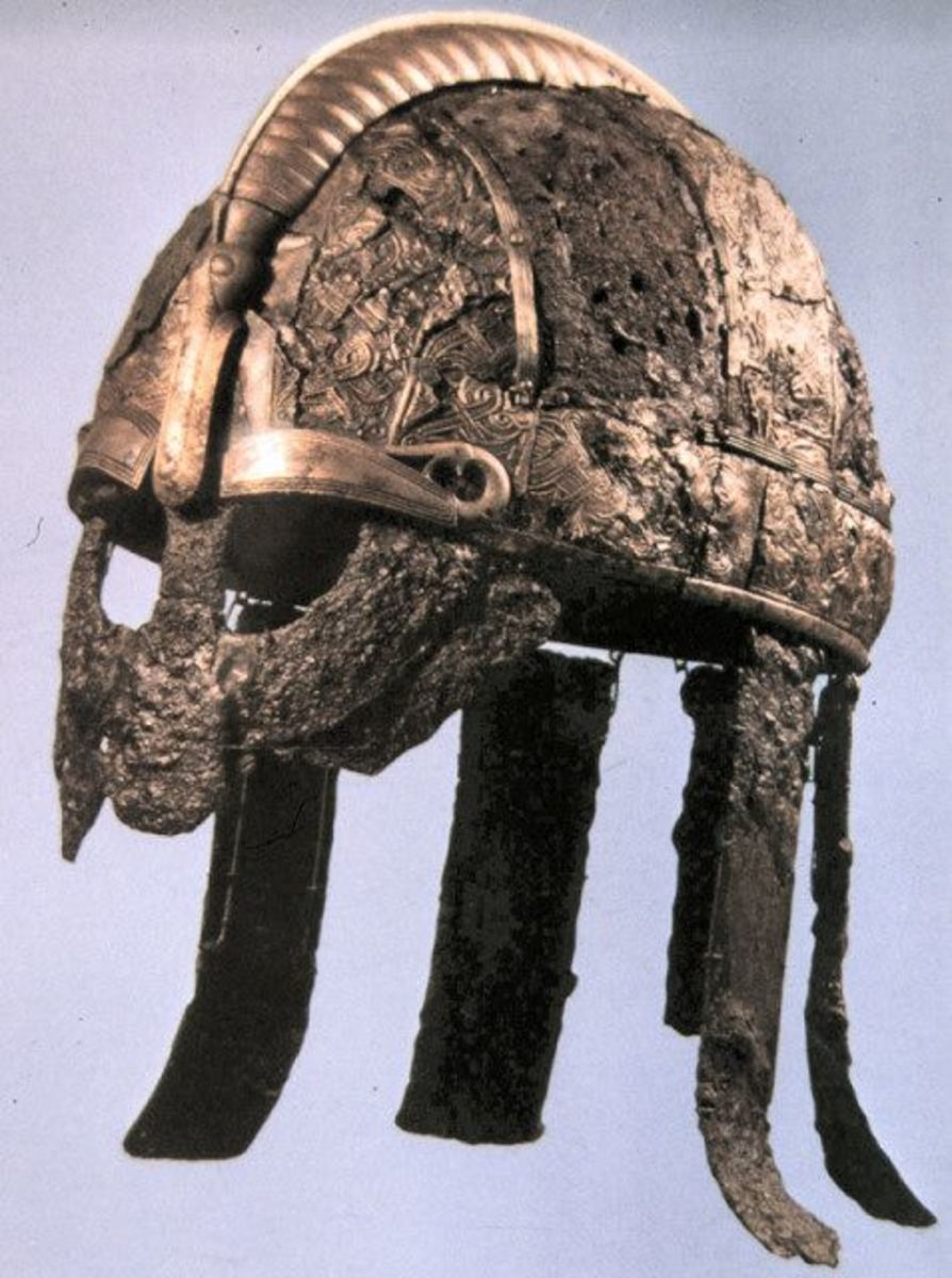 One of the Vendel helmets found in the Uppland region of Sweden near Stockholm - the forerunner of Viking Age design with face visor