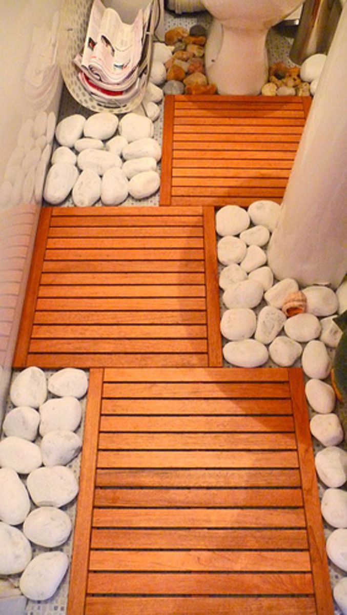 Zen Bathroom with Duckboards and Little Rocks