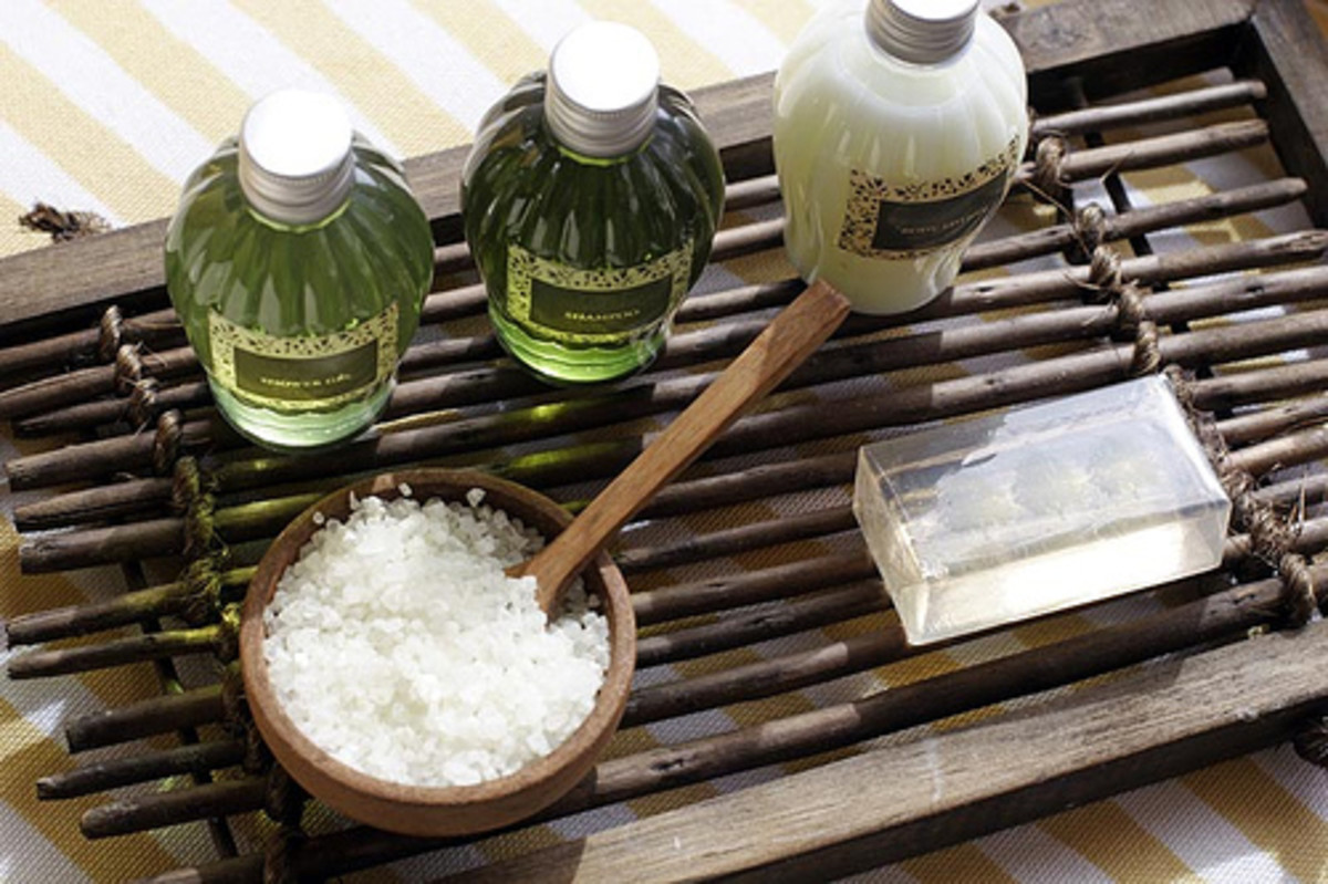 All-Natural Toiletries on a Bamboo Bathrack