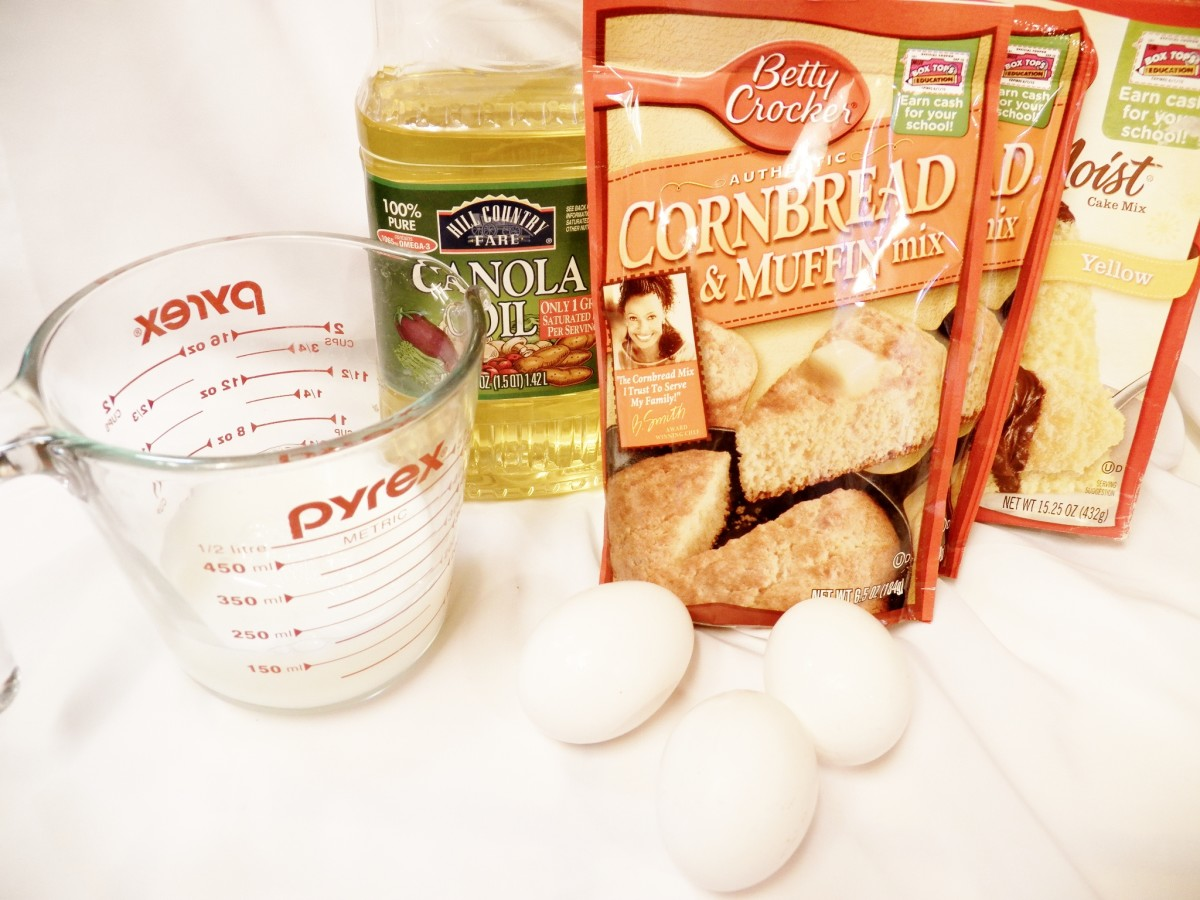 Sweet Cornbread ingredients.