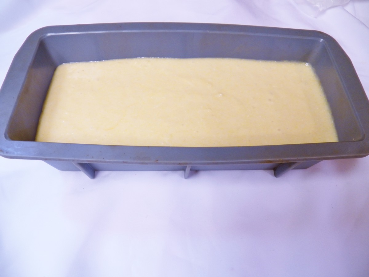 Put Cornbread Batter in Loaf pan.