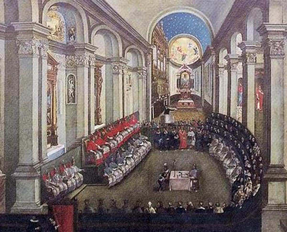 Portrait depicting a meeting with the Council of Trent