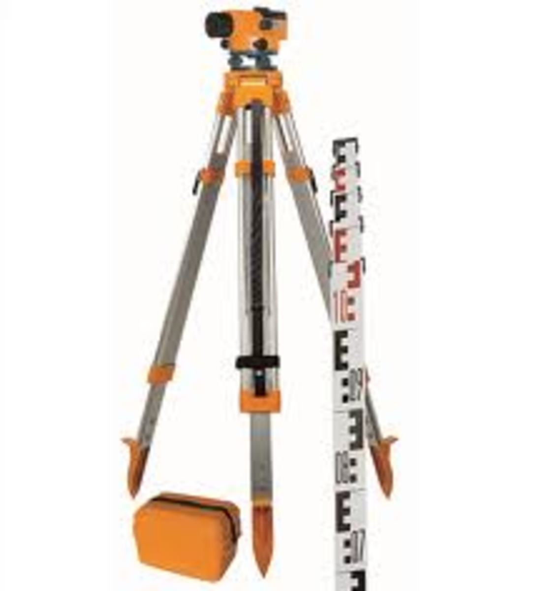 This is one of the many surveyors level, a trained person can do many things with this instrument, it comes with an extending rod and it requires two people to use and mark the levels for the bricklayer.