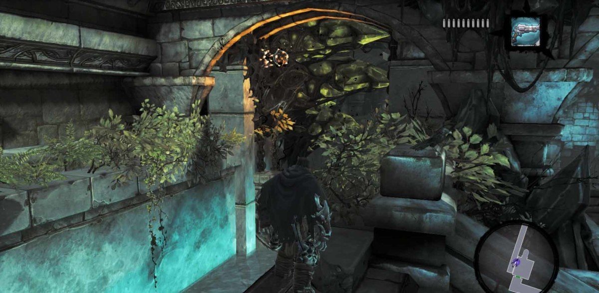 In Darksiders 2, after finding the lever, the hero must use Redemption to free and then activate the lever.