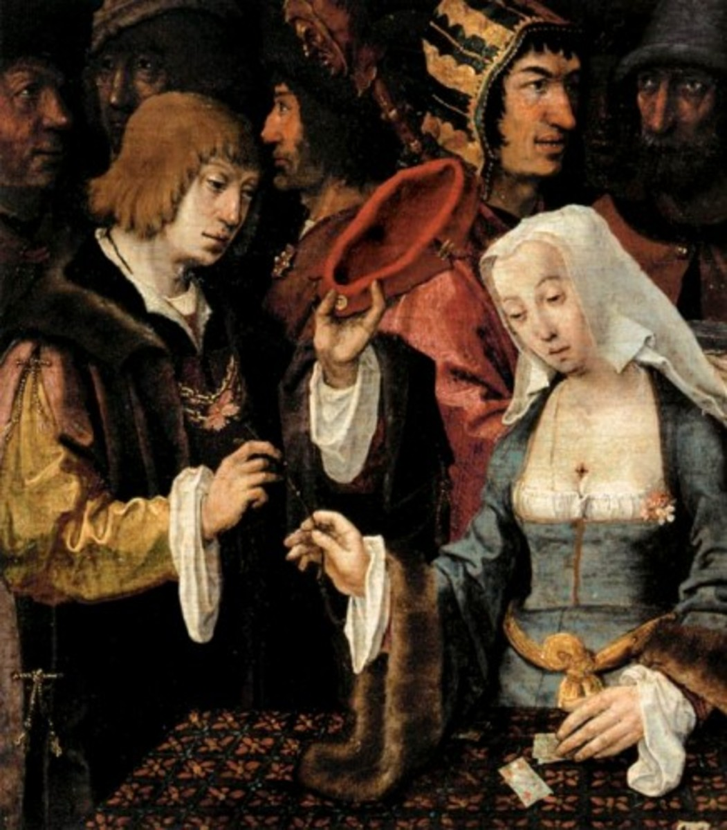 Painting (detail) by Dutchman Lucas Van Leyden proves that Diana and Julia aren't the first fake psychics in the Netherlands.