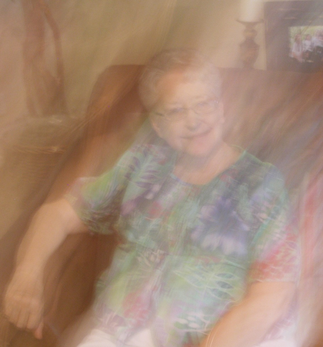 Do you see the ghost that got between Sarah and the camera 7/31/2013