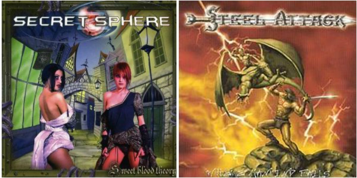 "Left: Secret Sphere ""Sweet Blood Theory,"" right: Steel Attack, ""Where Mankind Falls"""