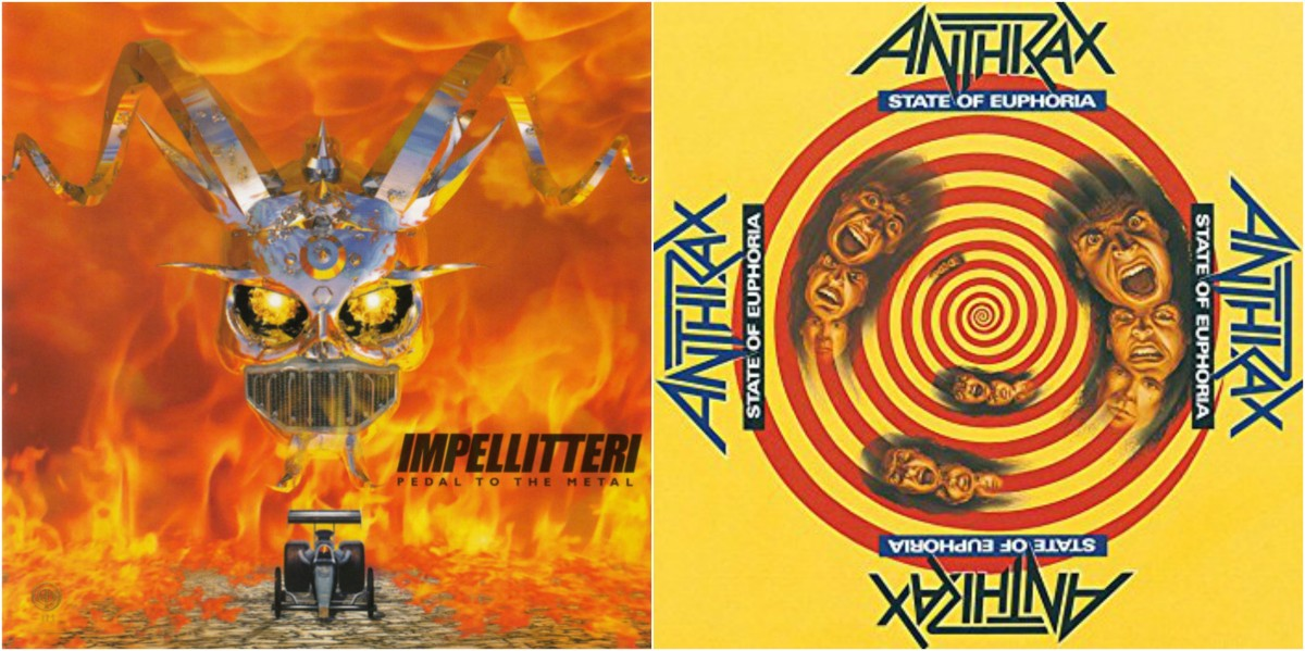 "Left: Impellitteri, 'Pedal to the Metal,"" right: Anthrax, ""State of Euphoria"""