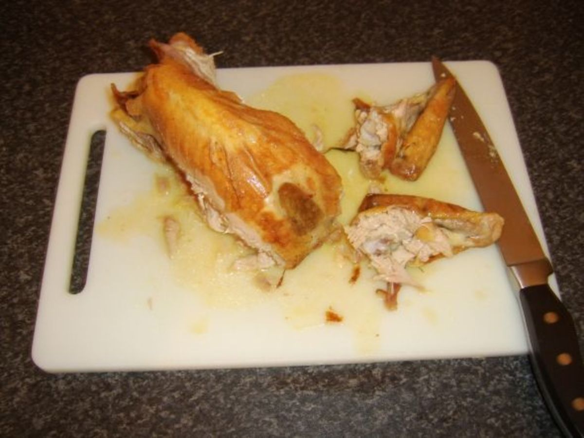 Wings have been removed from guinea fowl