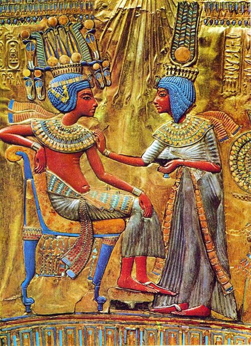 Artwork from a throne found in Tutankhamun's tomb, depicting the pharaoh and his wife, Ankhesenamun.