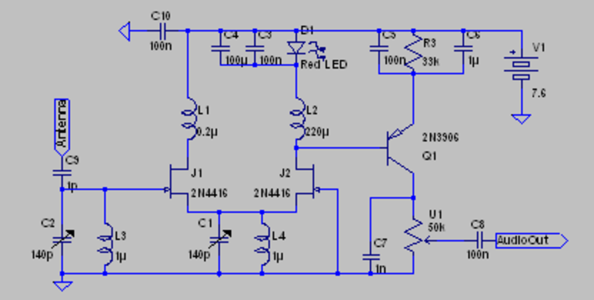 JFET regenerative receiver with tuned circuit differential pair.