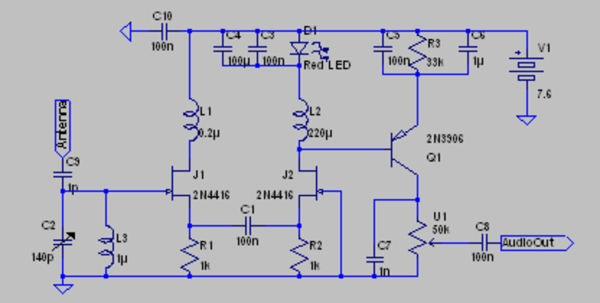 A JFET based regenerative receiver using an AC-linked differential pair.