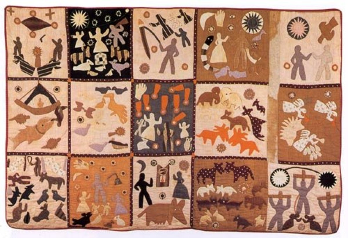 This 1898 Bible Quilt by Harriet Powers uses appliqué as its primary method.