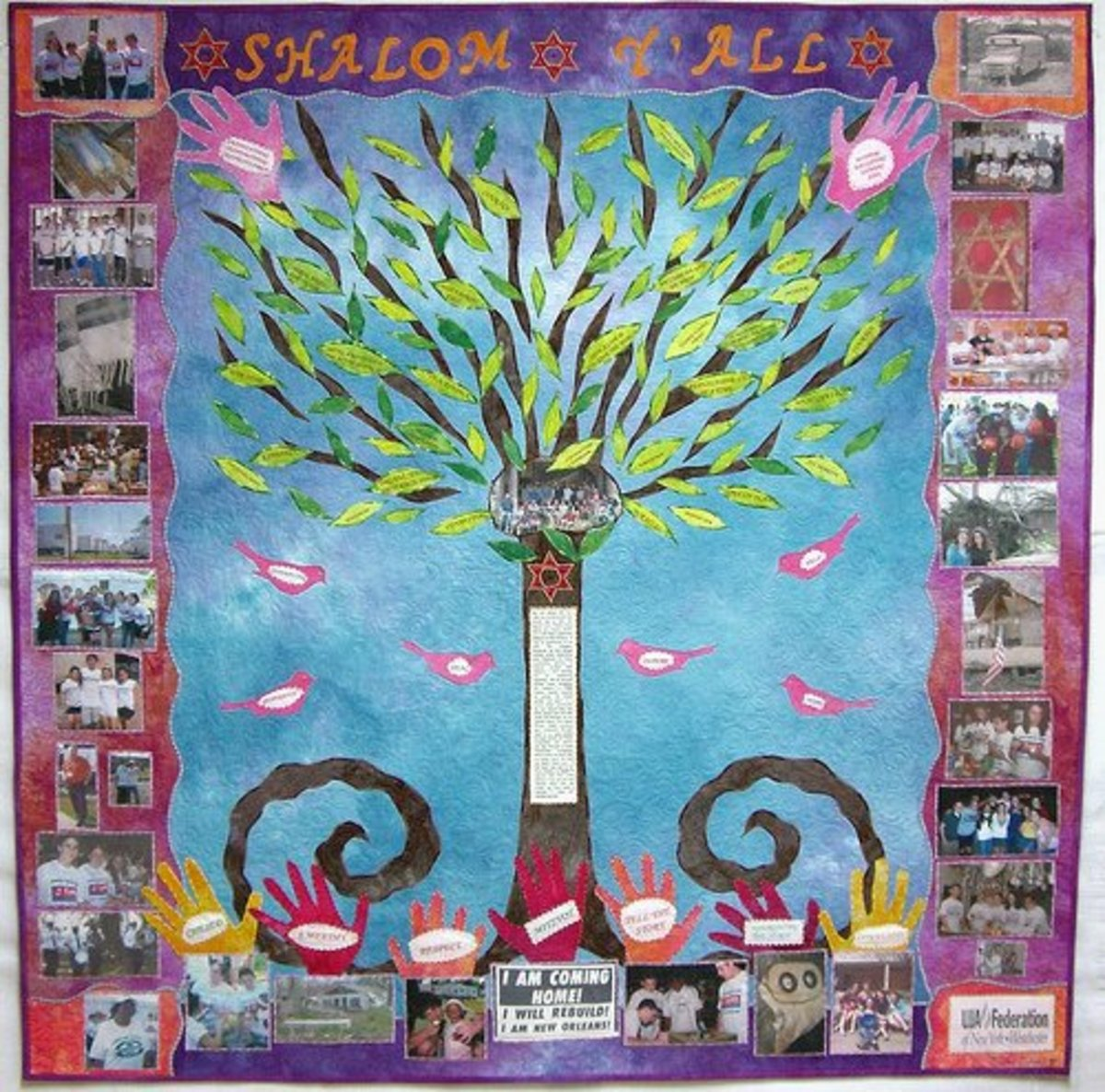 This quilt by Susan Schrott uses photo transfer, appliquéd and printed words, and appliquéd leaves, birds, hands and other motifs.