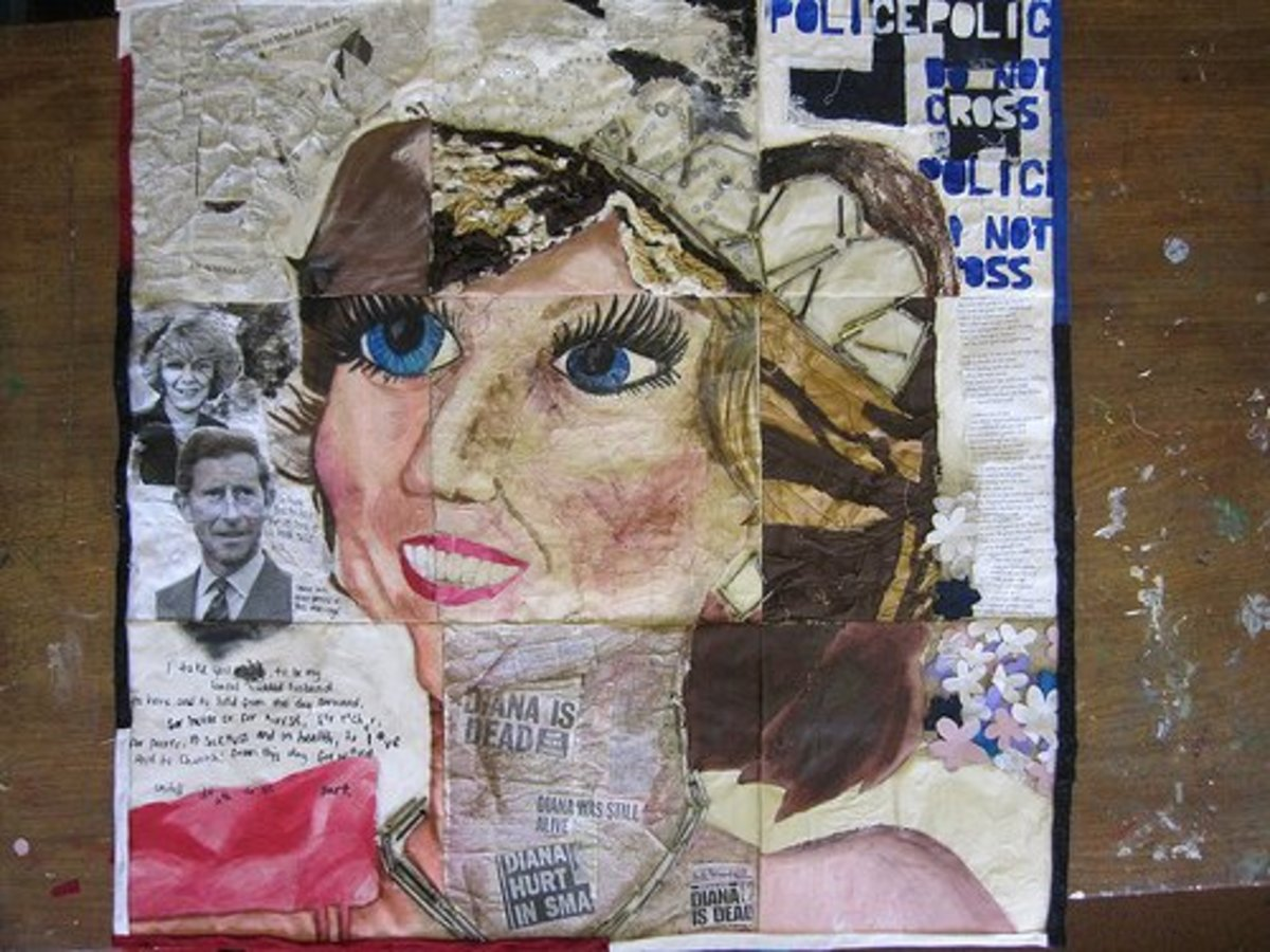 Princess Diana Story Quilt uses applique, photo transfer, fabric marker, thread painting, and embroidery to tell its story.