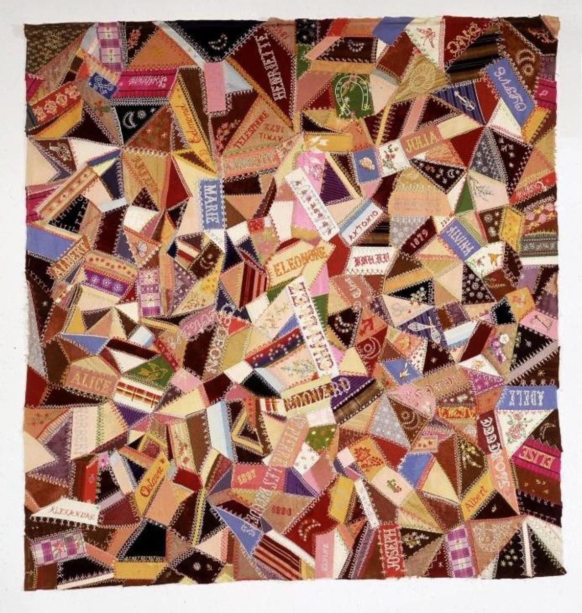 This 1897 crazy quilt uses embroidery and embellishments to share its message.