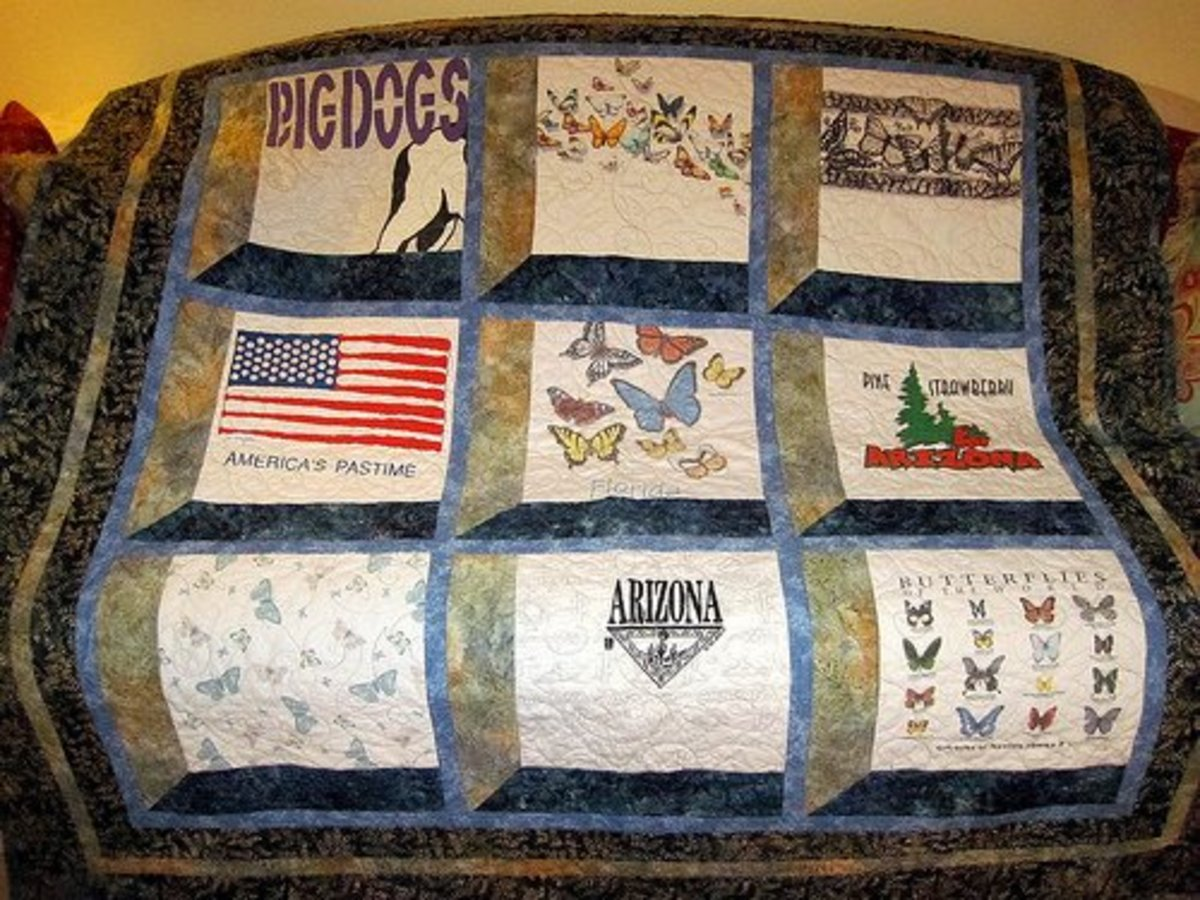 This memory quilt is made from T-shirts fabric that has been worn by a loved one.
