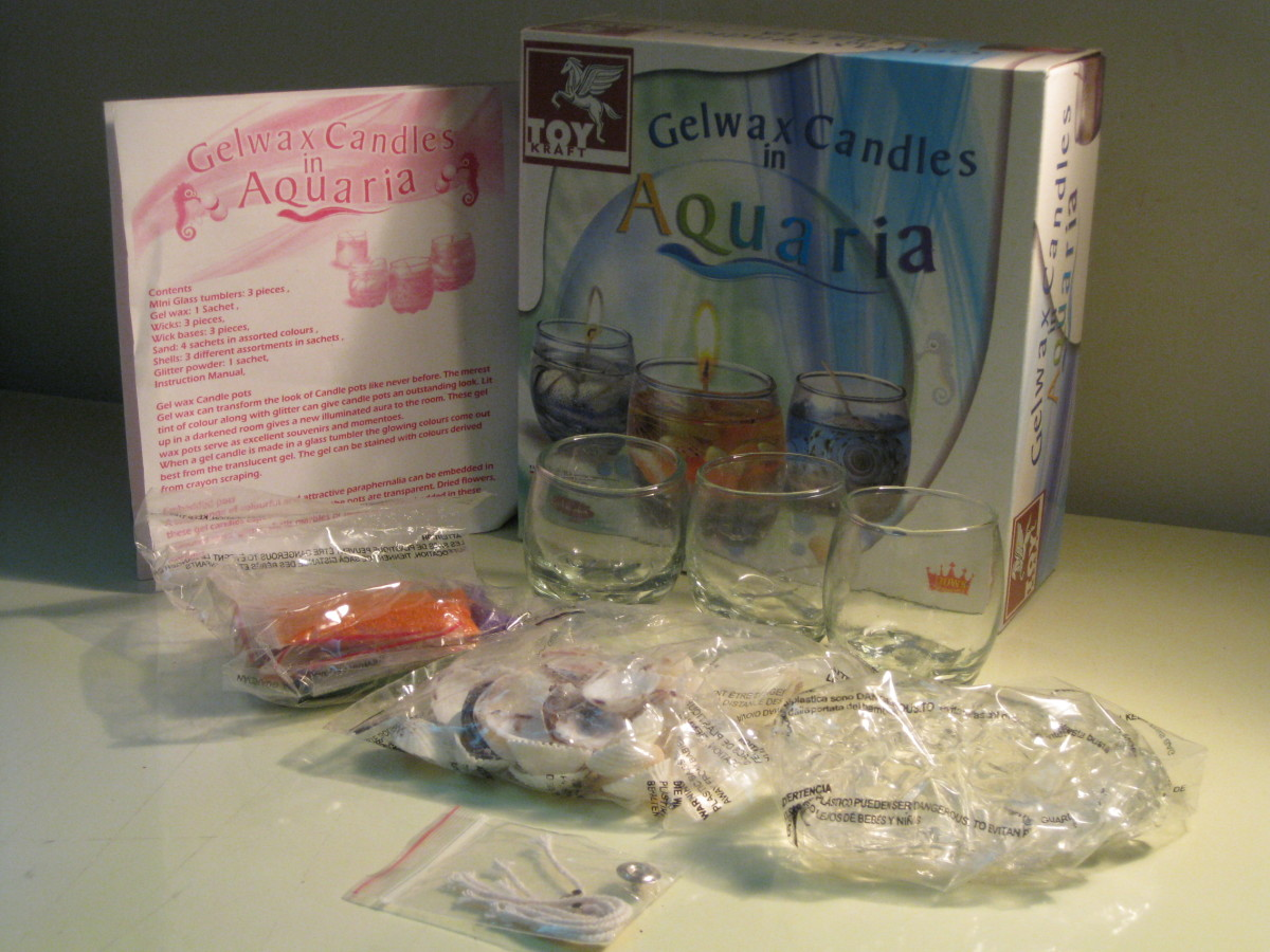 Materials of my gel candle-making kit