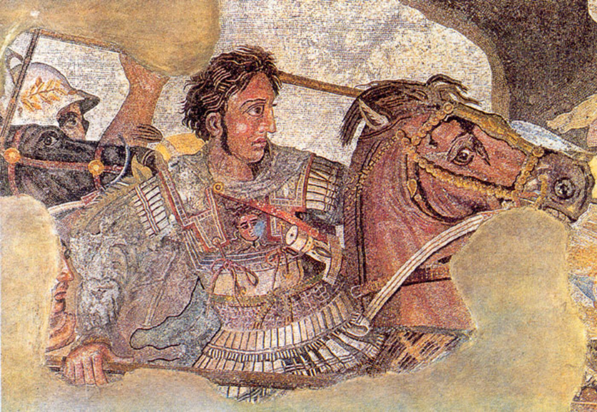 "Alexander fighting Darius III at Issus, frrom the famous ""Alexander Mosaic."""