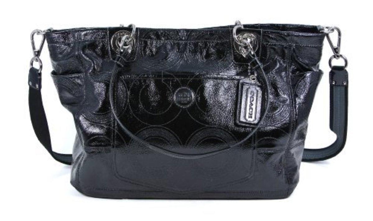 Coach Alex Stitched Op Art Patent Leather Diaper Bag