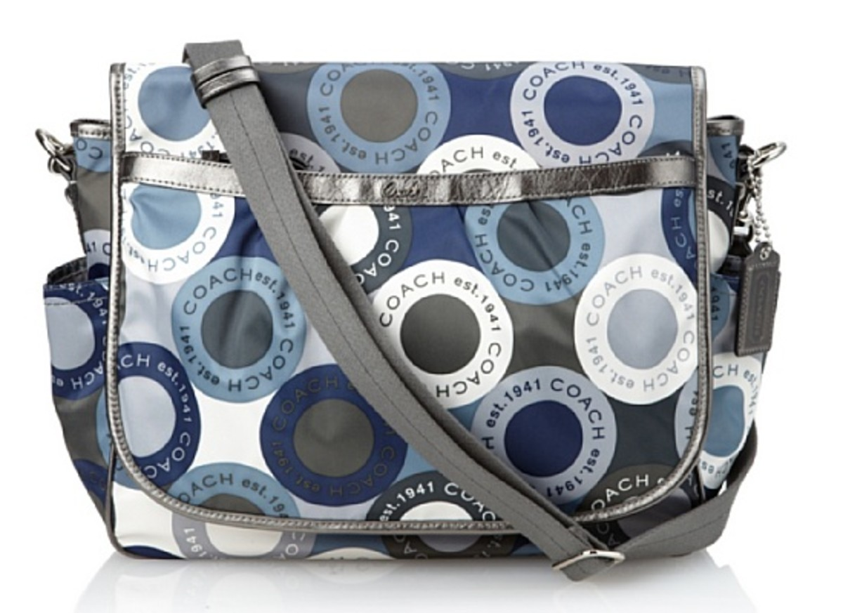 Coach Snaphead Signature Baby Diaper Messenger Bag Purse Tote 18377 Blue Grey Multi